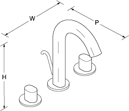 Oblo 2-handle 3-hole basin mixer includes pop-up waste Line Drawing