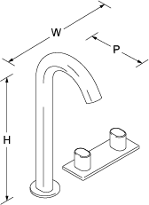 Oblo Tall 2-handle 3-hole basin mixer Line Drawing