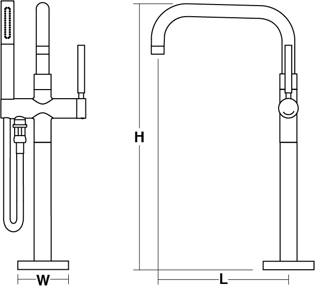 Purist Floor-mount bath filler Line Drawing