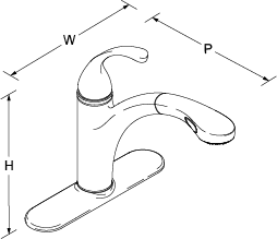 Forte Pull-out tap Line Drawing