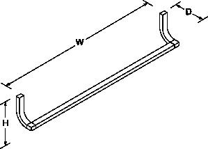 Loure 781mm towel rail Line Drawing