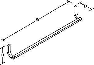 Loure 629mm towel rail Line Drawing