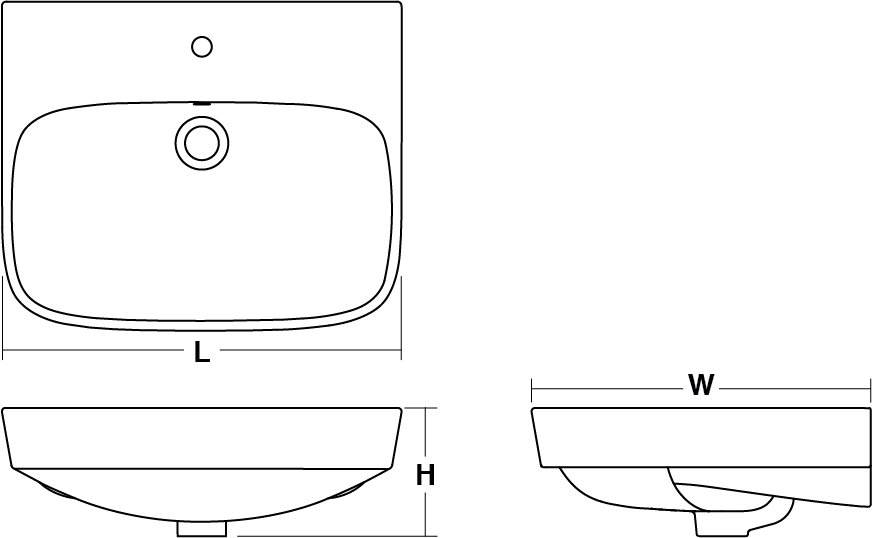 ModernLife™ Semi-recessed basin, 1 tap hole Line Drawing