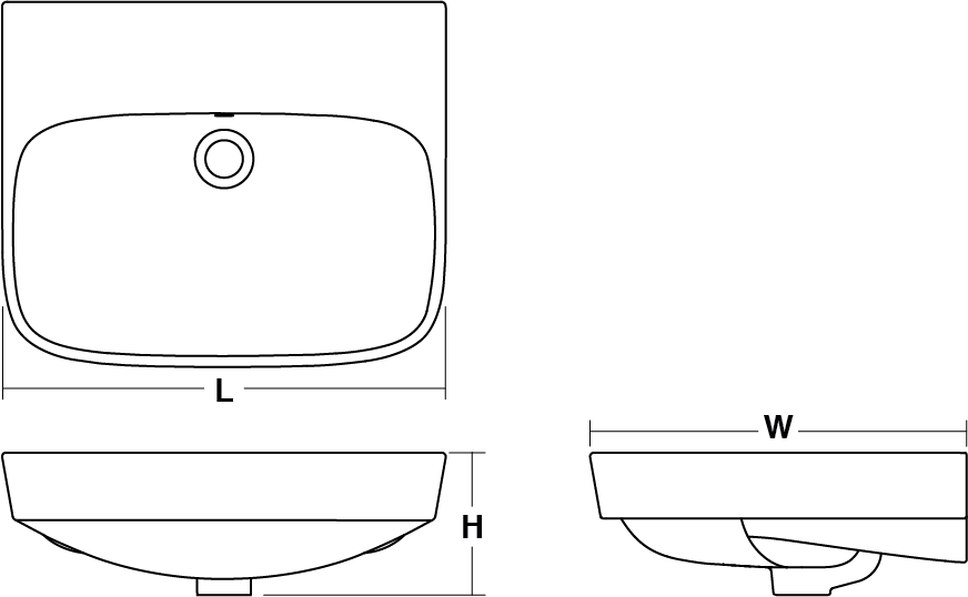 ModernLife™ Semi-recessed basin Line Drawing