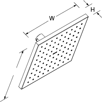 Katalyst Contemporary square rainhead 10in Line Drawing
