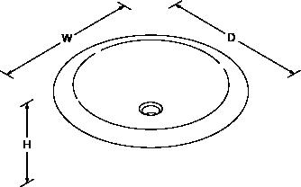 Pallene glass vessel basin Line Drawing