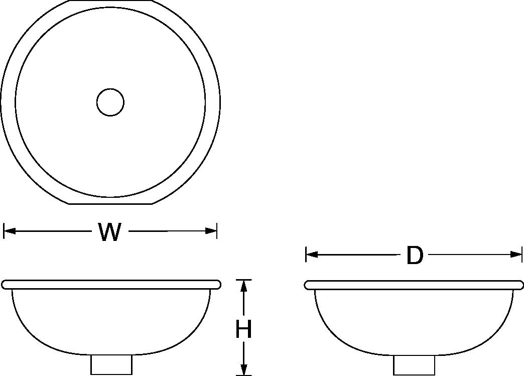 Marrakesh design on Camber under-mount vessel basin Line Drawing