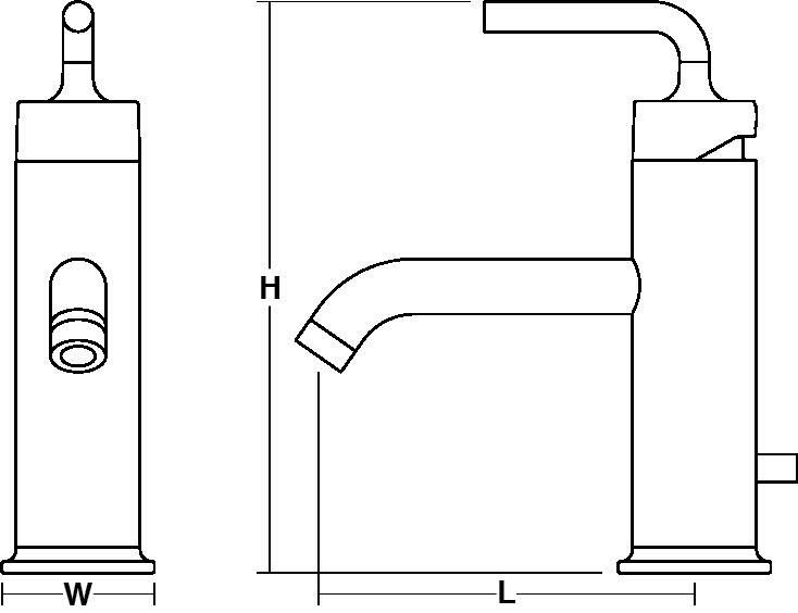 Purist Single-lever monobloc basin mixer straight handle Line Drawing