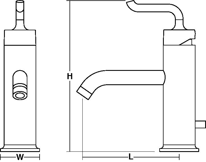 Purist Single-lever monobloc basin mixer smile handle Line Drawing