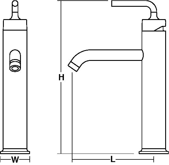 Purist Tall single-lever monobloc basin mixer straight handle Line Drawing