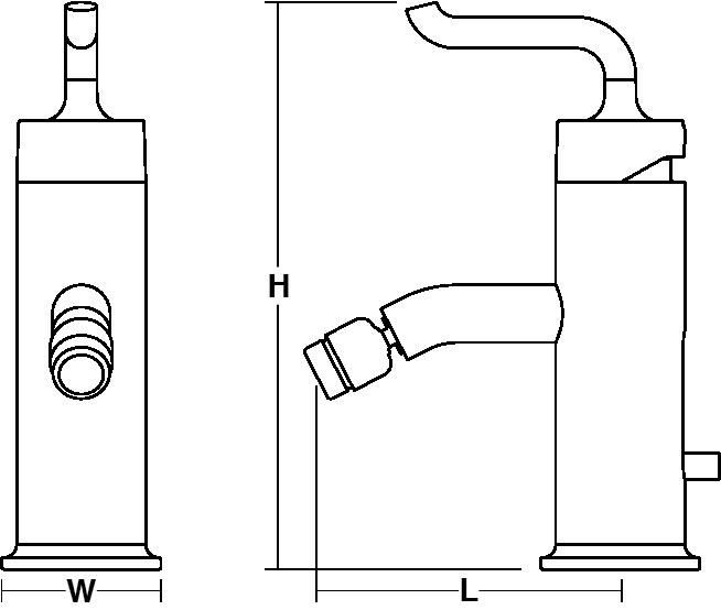 Purist Single-lever monobloc bidet mixer smile handle Line Drawing