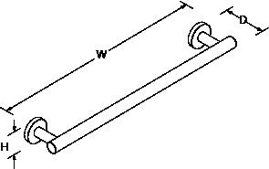 Stillness 500mm towel rail Line Drawing
