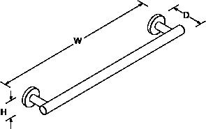 Stillness 805mm towel rail Line Drawing