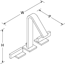 Loure 2-handle 3-hole basin mixer Line Drawing