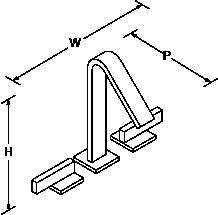 Loure Tall 2-handle 3-hole basin mixer Line Drawing