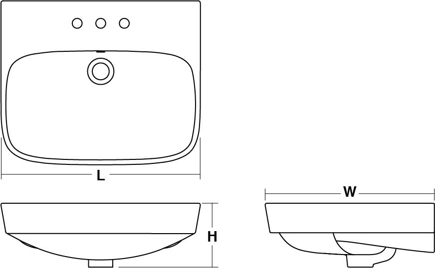 ModernLife™ Semi-recessed basin, 3 tap holes Line Drawing