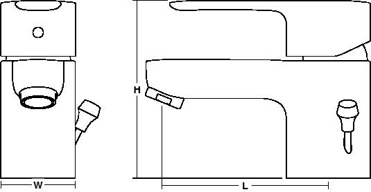 July Single-lever monobloc bidet mixer includes pop-up waste Line Drawing