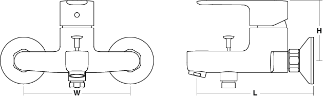 July Single-lever wall-mount bath shower mixer Line Drawing