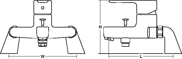 July Single-lever deck-mount bath shower mixer Line Drawing