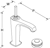 Margaux Tall single-lever monobloc basin mixer Line Drawing