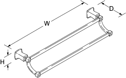 Margaux 667mm double towel rail Line Drawing