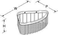 Cross range Corner basket medium Line Drawing