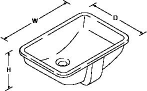 Ladena 457mm Under-mount basin Line Drawing