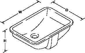 Ladena 533mm Under-mount basin Line Drawing