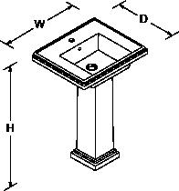 Devonshire and Tresham 610mm washbasin 1 tap hole Line Drawing