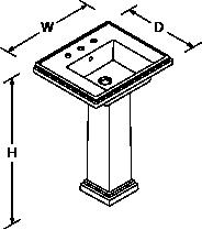 Devonshire and Tresham 610mm washbasin 3 tap hole Line Drawing