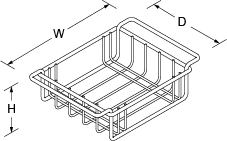 Wire basket for Icerock Trough Line Drawing