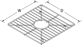 Bottom basin rack for Poise 3388 and 3392 Line Drawing