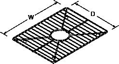 Bottom basin rack large for Poise 3389 Line Drawing