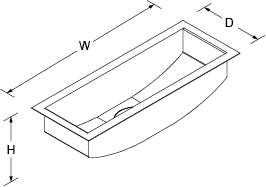 Icerock Under-mount trough Small no tap hole Line Drawing