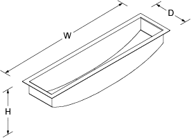 Icerock Under-mount trough Medium no tap hole Line Drawing
