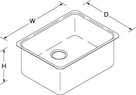 Icerock Under-mount 584mm no tap hole Line Drawing