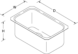Icerock Under-mount 273mm no tap hole Line Drawing