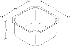 Icerock Under-mount 498mm no tap hole Line Drawing