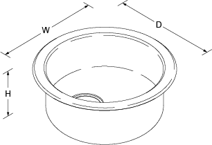 Icerock Under-mount no tap hole Line Drawing