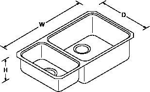 Icerock Under-mount 1 Bowl 800mm no tap hole Line Drawing