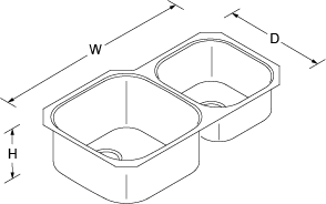 Icerock Under-mount double Bowl 892mm no tap hole Line Drawing