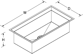Poise Under-mount 838mm no tap hole Line Drawing