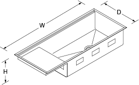 Stages Under-mount 1143mm with accessories no tap hole Line Drawing