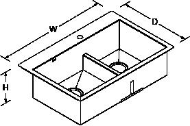 Vault Inset Under-mount 838mm Smart Divide 1 Bowl 1 tap hole Line Drawing