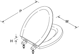 Devonshire and Tresham Moulded toilet seat for Devonshire Line Drawing
