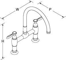Parq Deck-mount bridge tap with lever handles Line Drawing