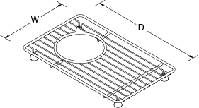 Bottom basin rack right for Indio 6411 Line Drawing
