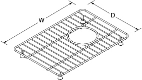 Bottom basin rack small for Riverby Line Drawing