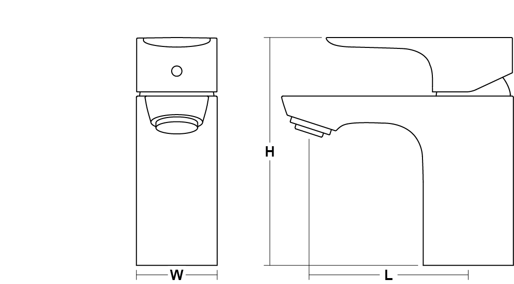 Aleo Single-lever monobloc basin mixer no pop-up waste Line Drawing