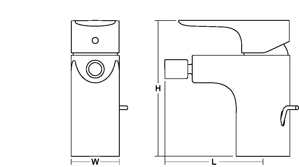 Aleo Single-lever monobloc bidet mixer Line Drawing